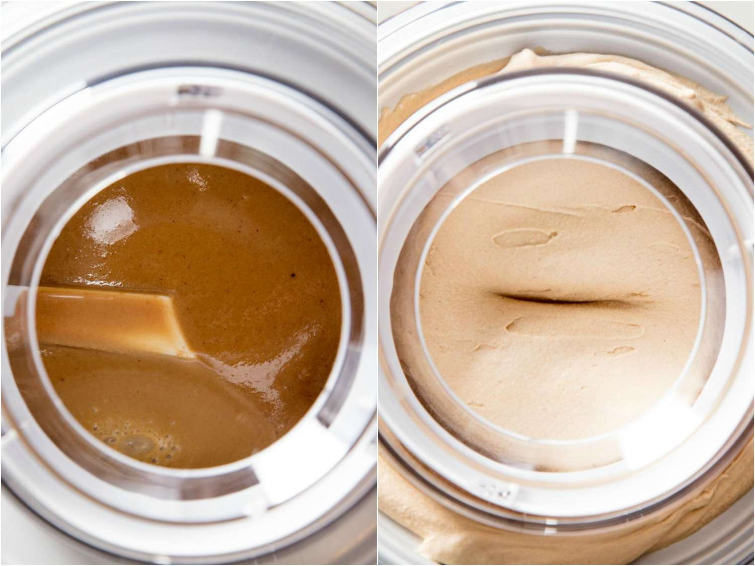 Collage of overhead shots of Biscoff ice cream churning in an ice cream machine