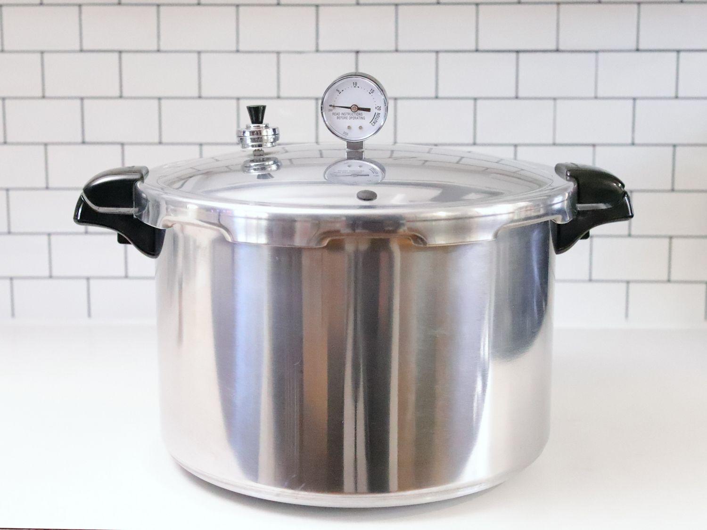 Presto 16-Quart Pressure Canner on a white kitchen countertop