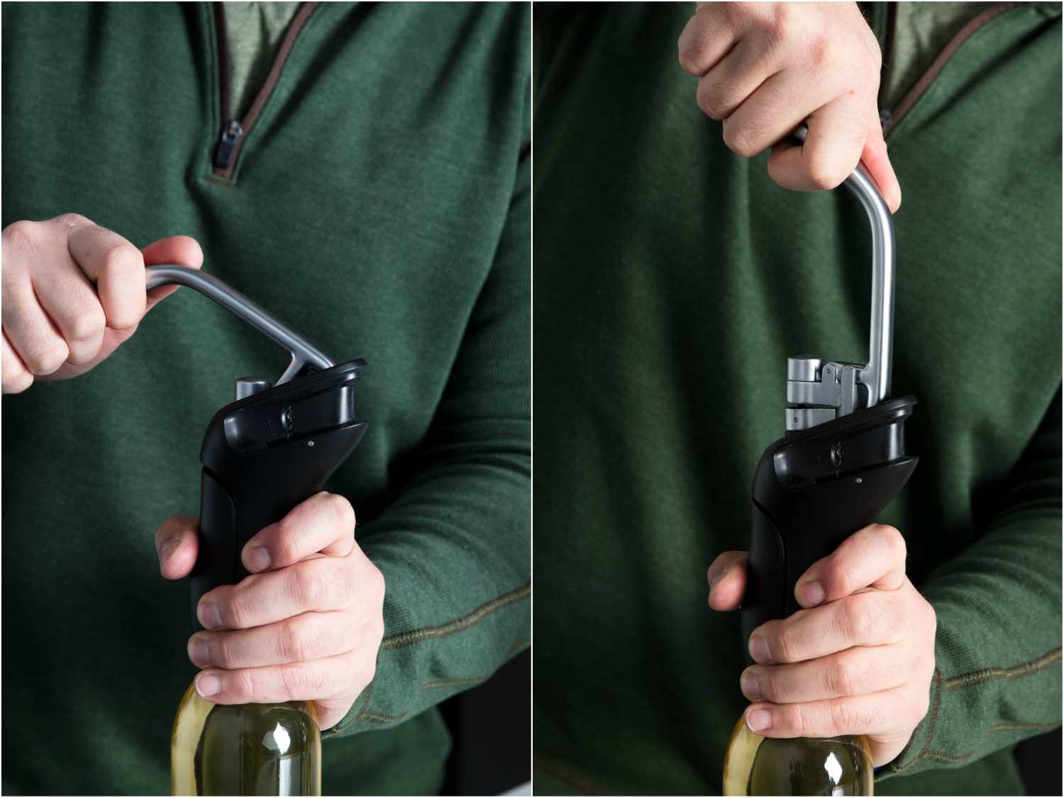 Two stages of using the OXO lever corkscrew to open a bottle of wine: push down, then pull up