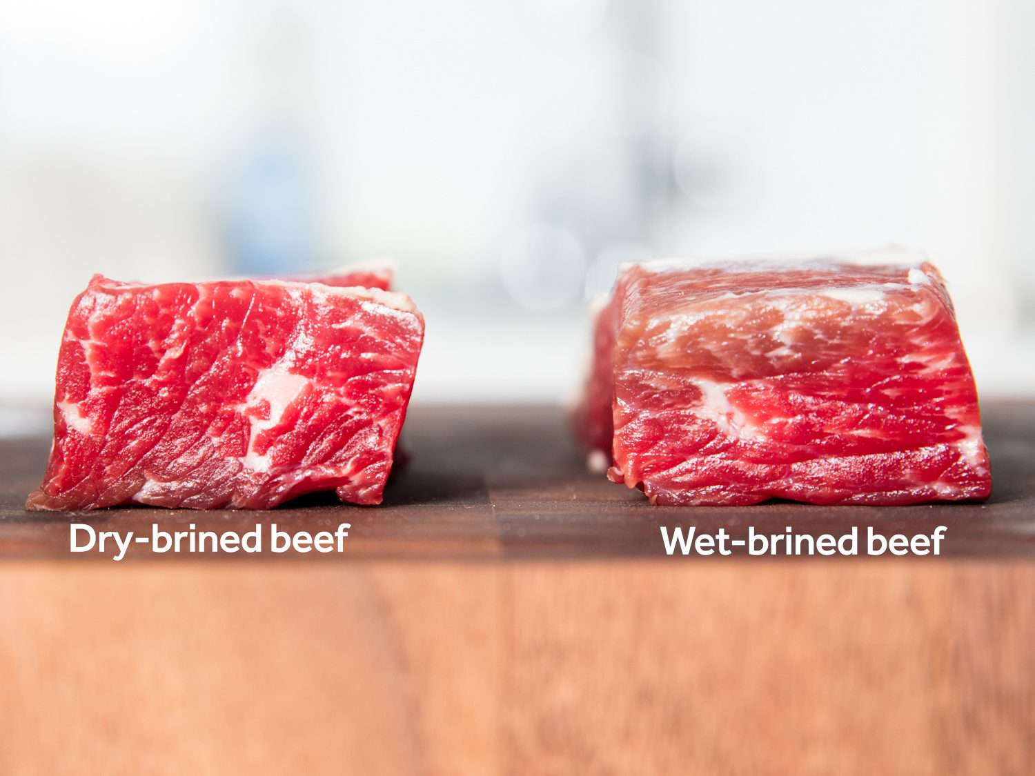 Side-by-side comparison of dry-brined corned beef and wet-brined corned beef