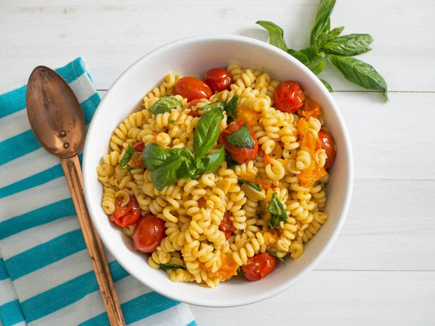 Blistered Tomato Pasta Salad with Basil