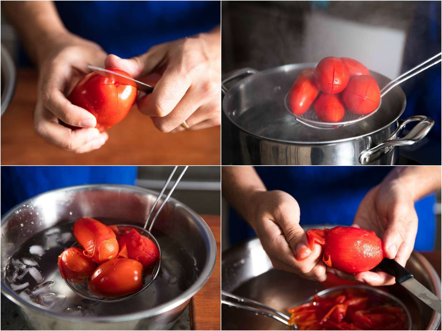 Collage of peeling tomatoes: scoring tomato ends, lowering tomatoes into hot water with a spider, removing blanched tomatoes, peeling off skin