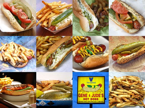 A collage of hot dogs with different toppings.