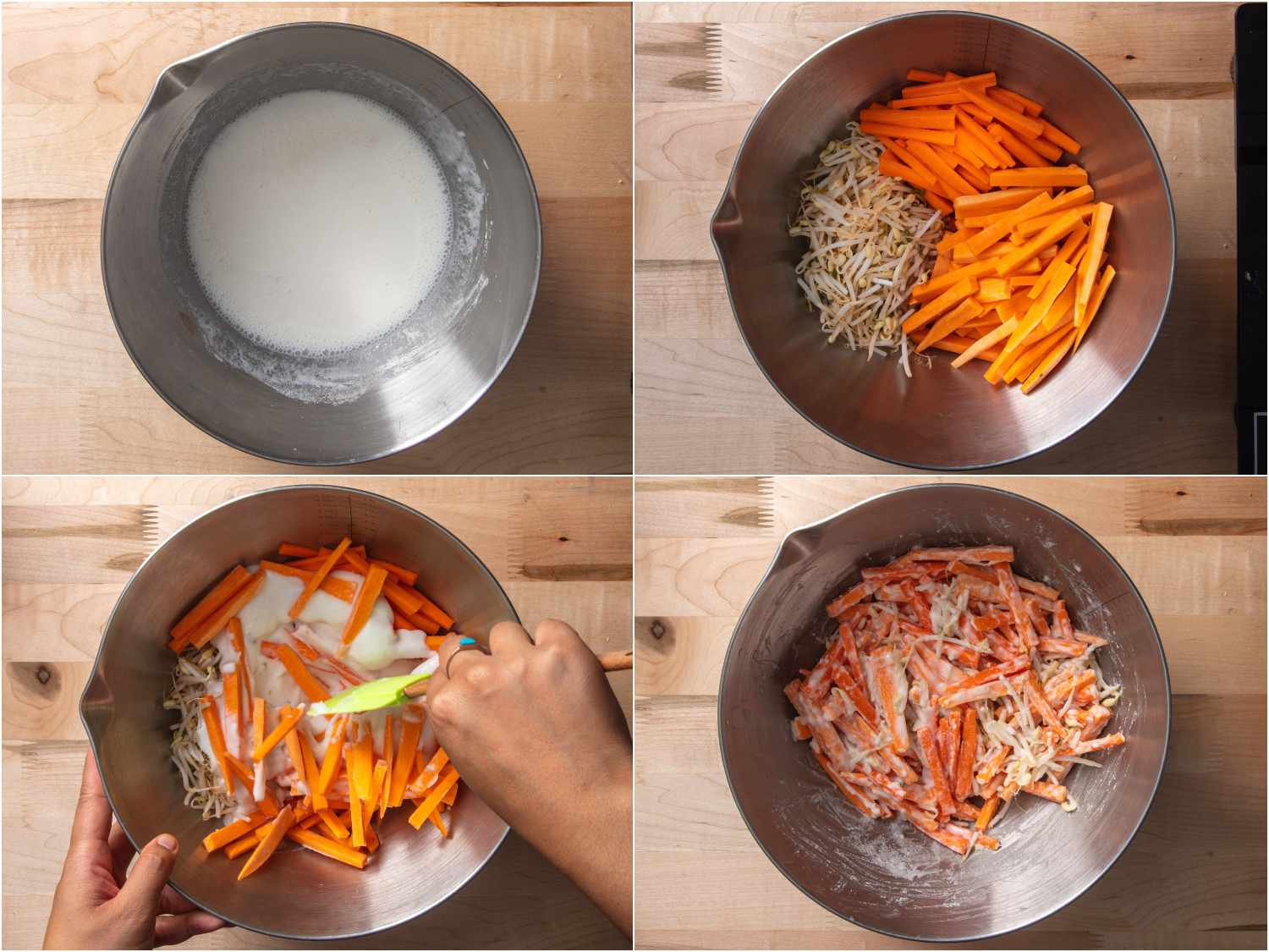 collage: batter mixed in bowl; vegetables cut up in another bowl; batter added to vegetable mixture; everything combined