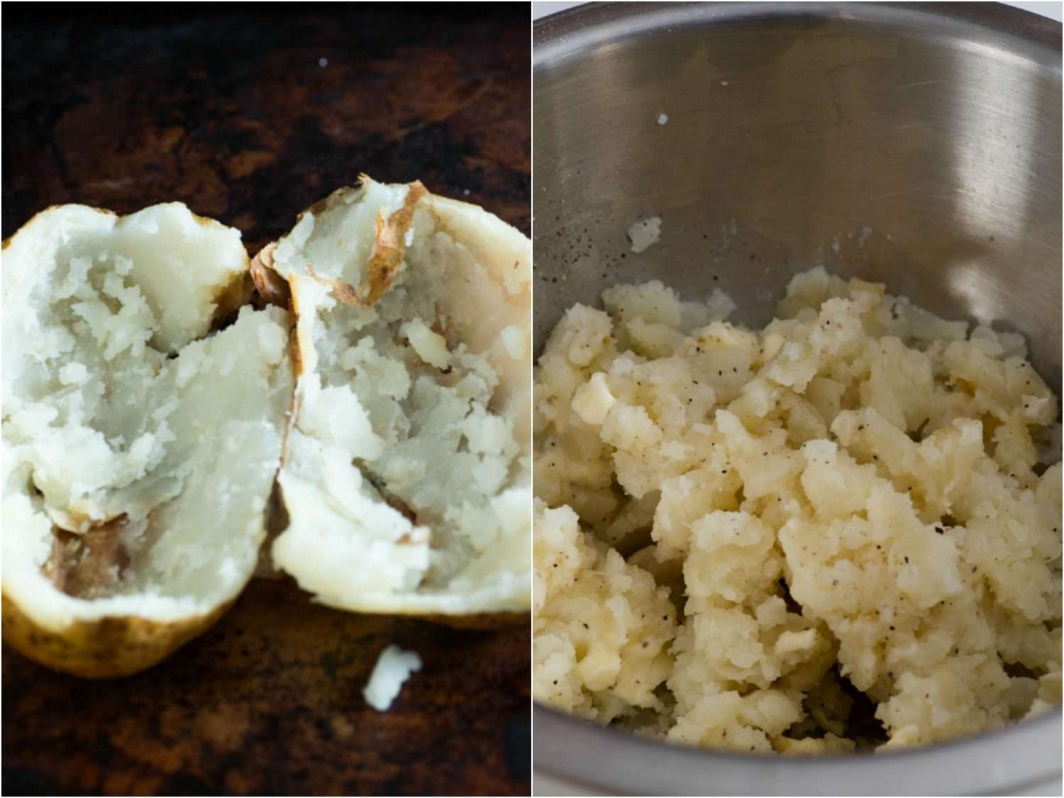 Split image showing halved baked potato and metal bowl with mashed potato in it.