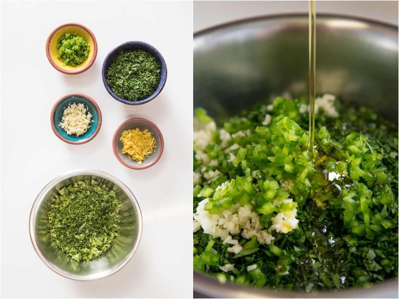 Making broccoli stem gremolata.