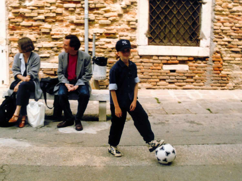 Sasha Marx with a soccer ball as a child.