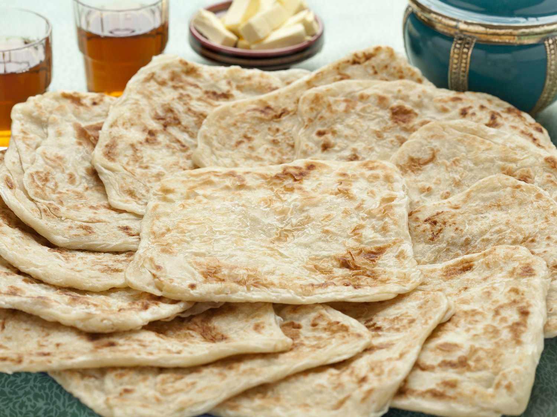 A platter of msemen, a type of north African pancake.