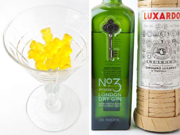Lemon gummy bears, gin, Luxardo Maraschino liqueur