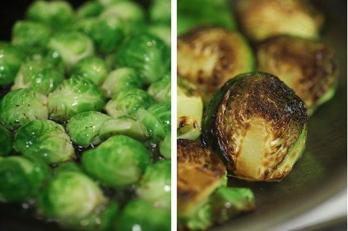 Brussels sprouts frying in a pan