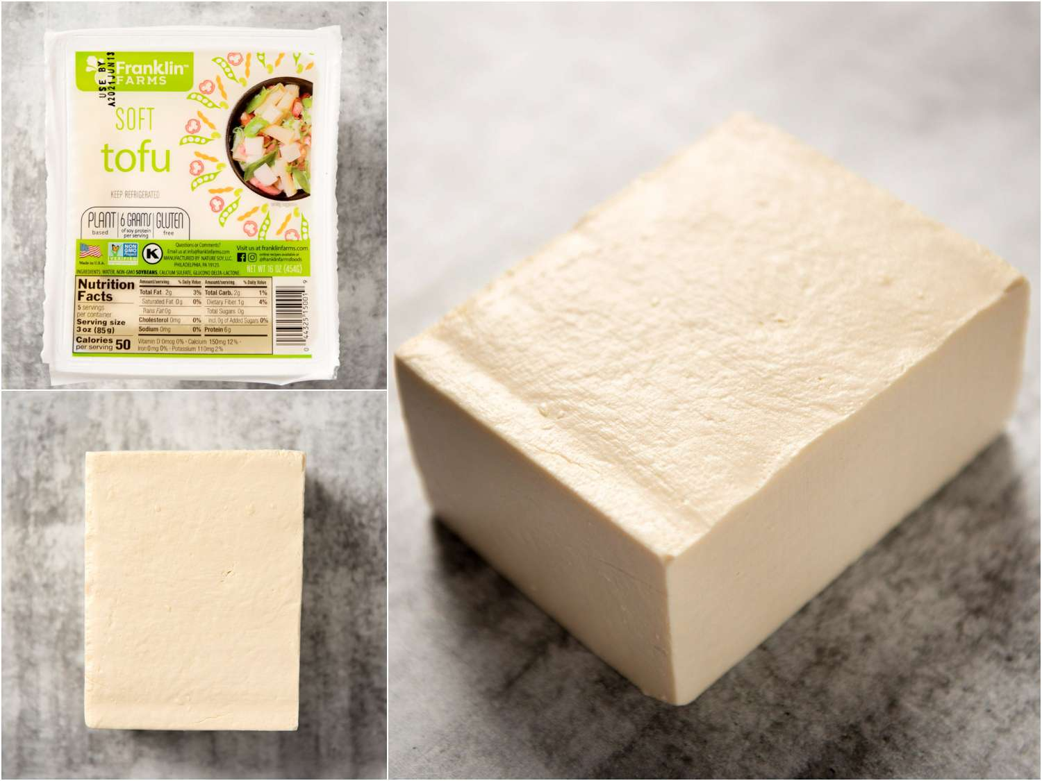 collage: soft block tofu in packaging; unpackaged; side angle