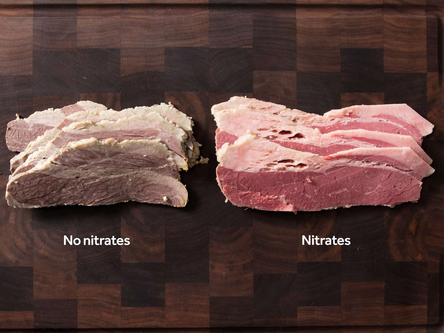 Side-by-side comparison of corned beef cured without nitrites (left) and with nitrites (right)
