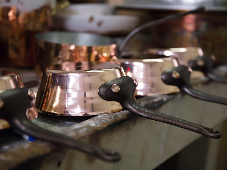 Copper flared saucepans