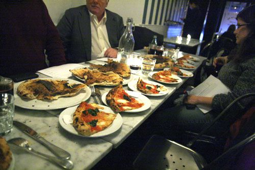 table full of pizzas