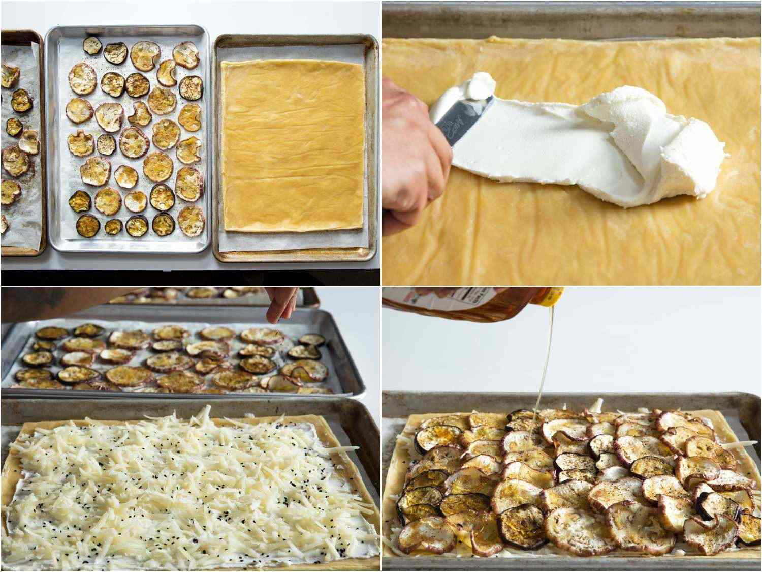 Collage of eggplant tart assembly steps