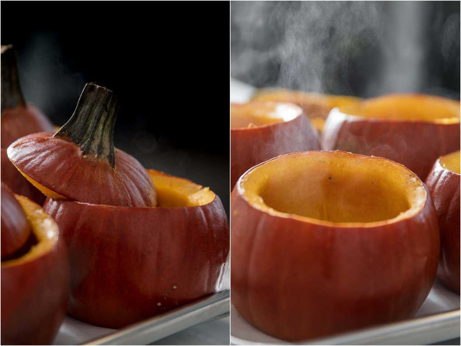 Roasted sugar pumpkins straight from the oven with steam rising.