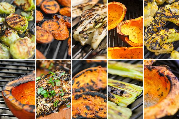 An assortment of fall vegetables being grilled.
