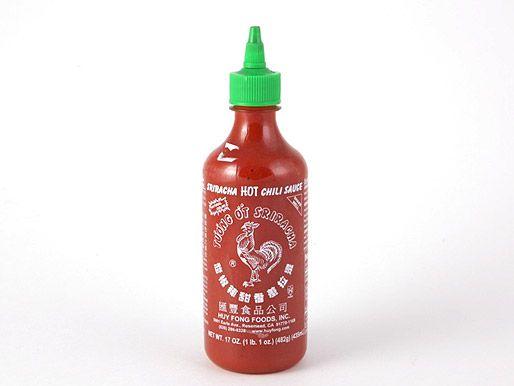 A bottle of Huy Fong Foods sriracha