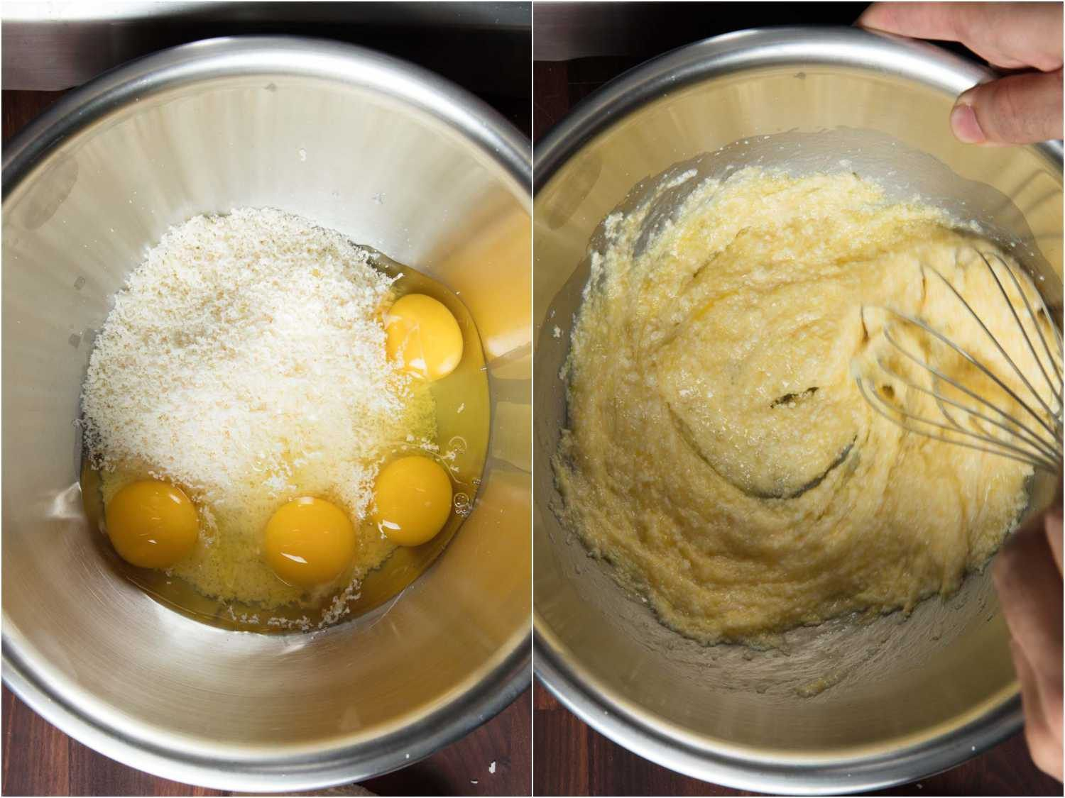 Whisking eggs and parmesan cheese together for stracciatella soup