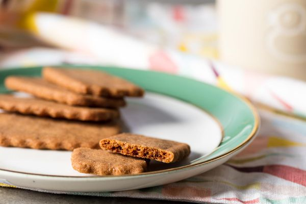 Homemade Biscoff, or speculoos cookies, on a small plate.