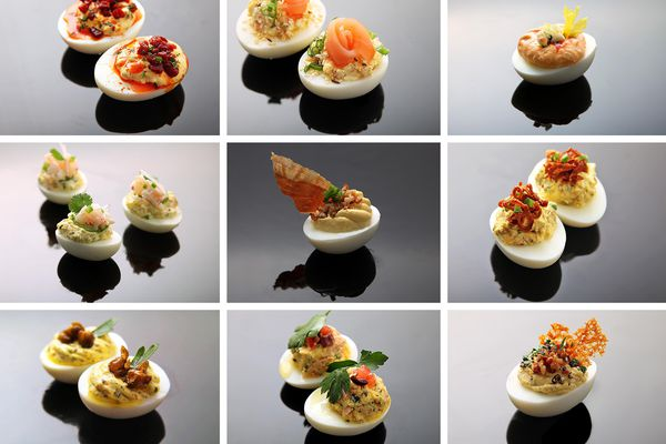 A collage assortment of various deviled eggs.