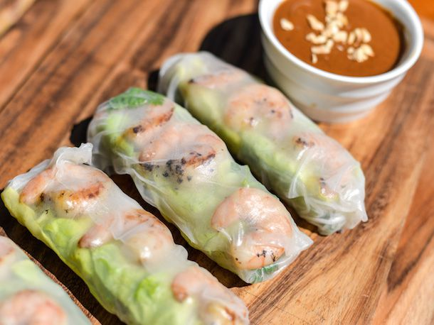 Vietnamese grilled shrimp summer rolls with peanut dipping sauce