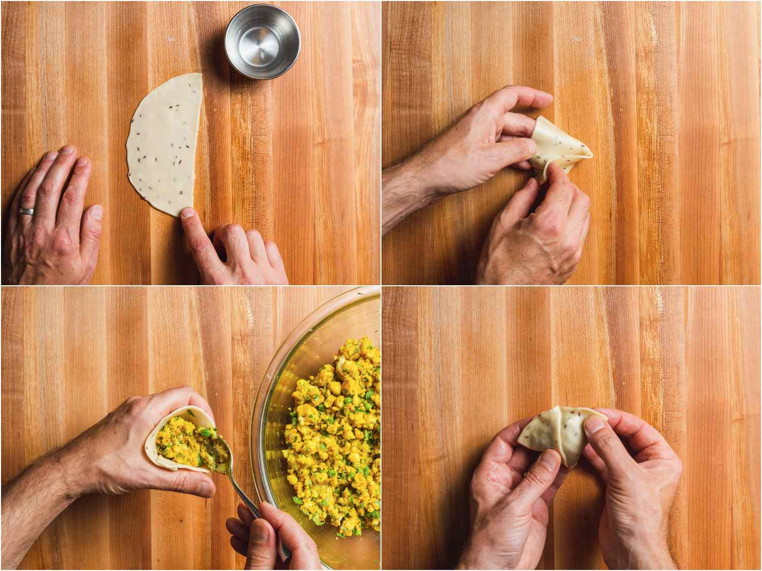 Collage of photos showing stuffing procedure for aloo samosa