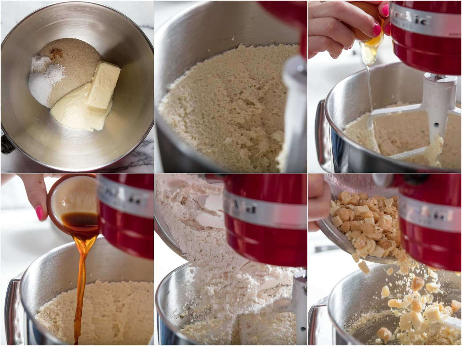adding ingredients to a stand mixer for white chocolate macadamia nut cookies