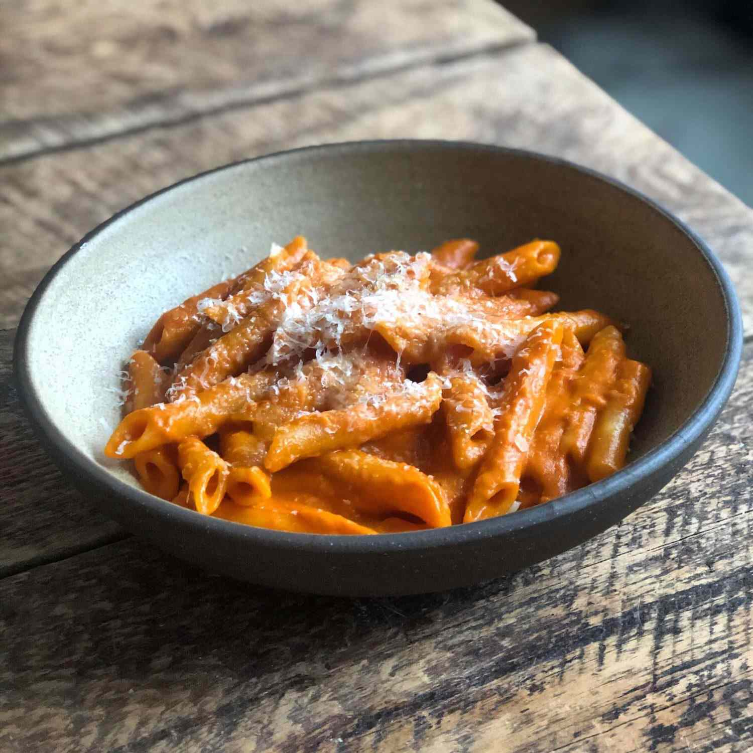 Bowl of penne with vodka sauce