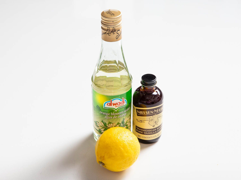 a trio of aromatics: orange flower water, lemon, and vanilla