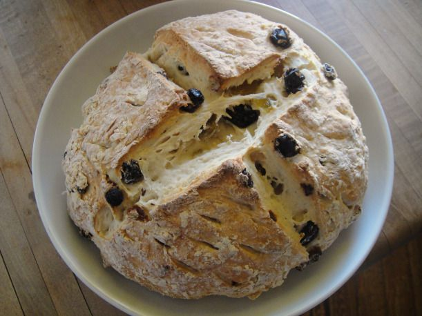 A loaf of spotted dog, an Irish soda bread with raisins.