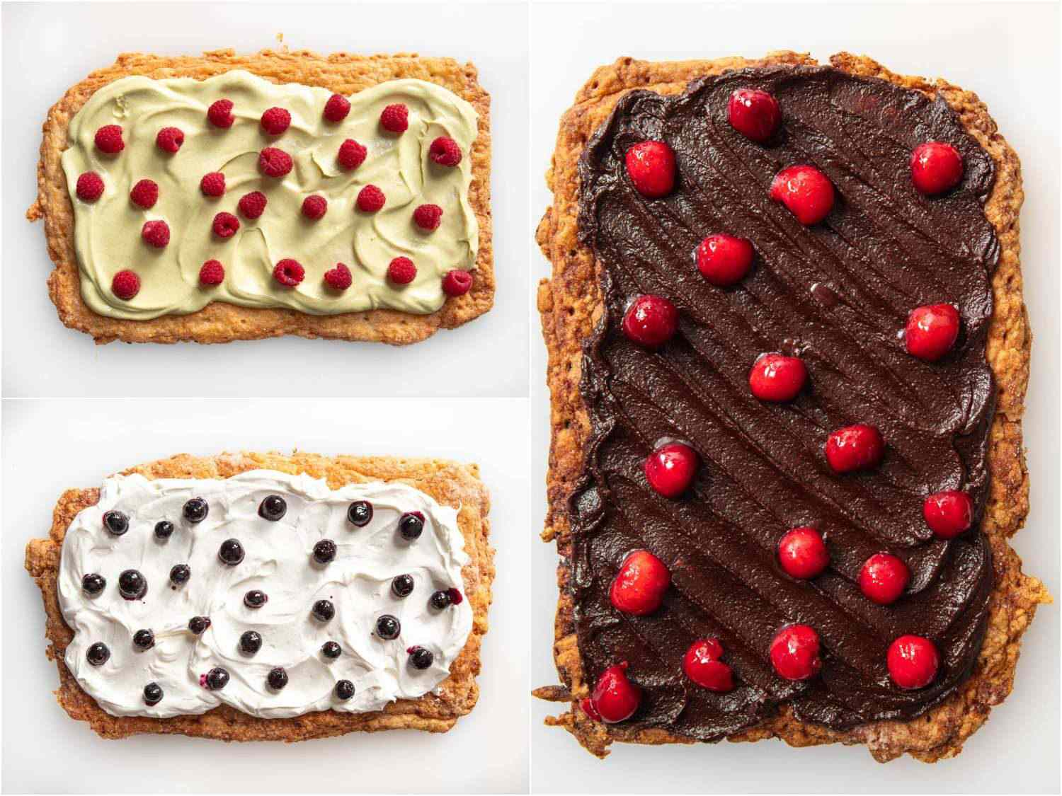 topping the tarts with fresh raspberries, blueberries, and cherries