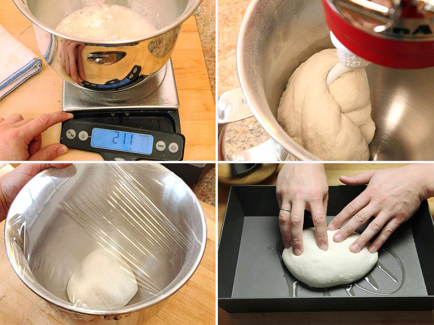 Collage of Detroit-style pizza dough making images