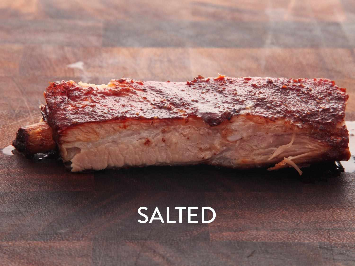 A photo of a salted pork rib cooked sous vide