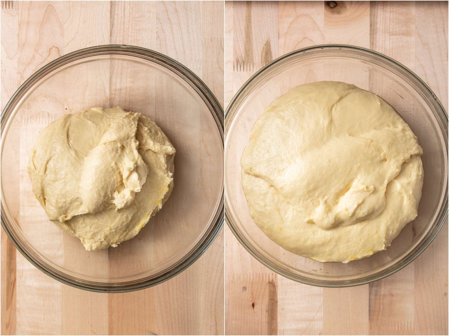before and after of pandesal dough after resting and doubling in size