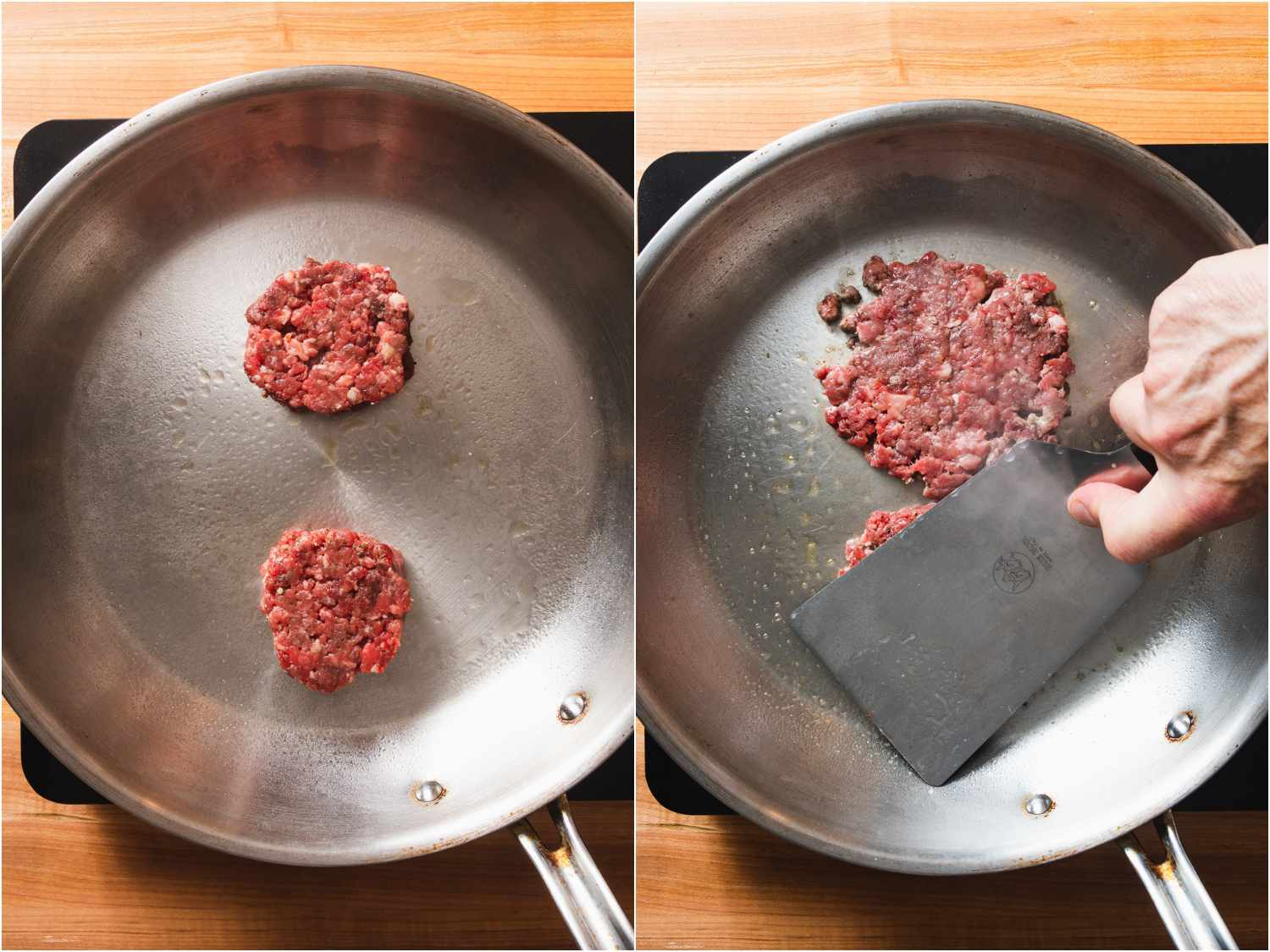two beef patties in a skillet; smashing with a flat spatula