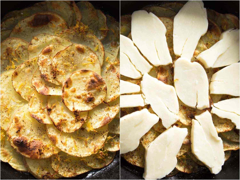 potato gratin getting topped with halloumi cheese