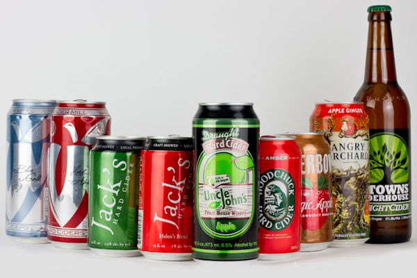 American canned ciders in a row in front of a white backround.