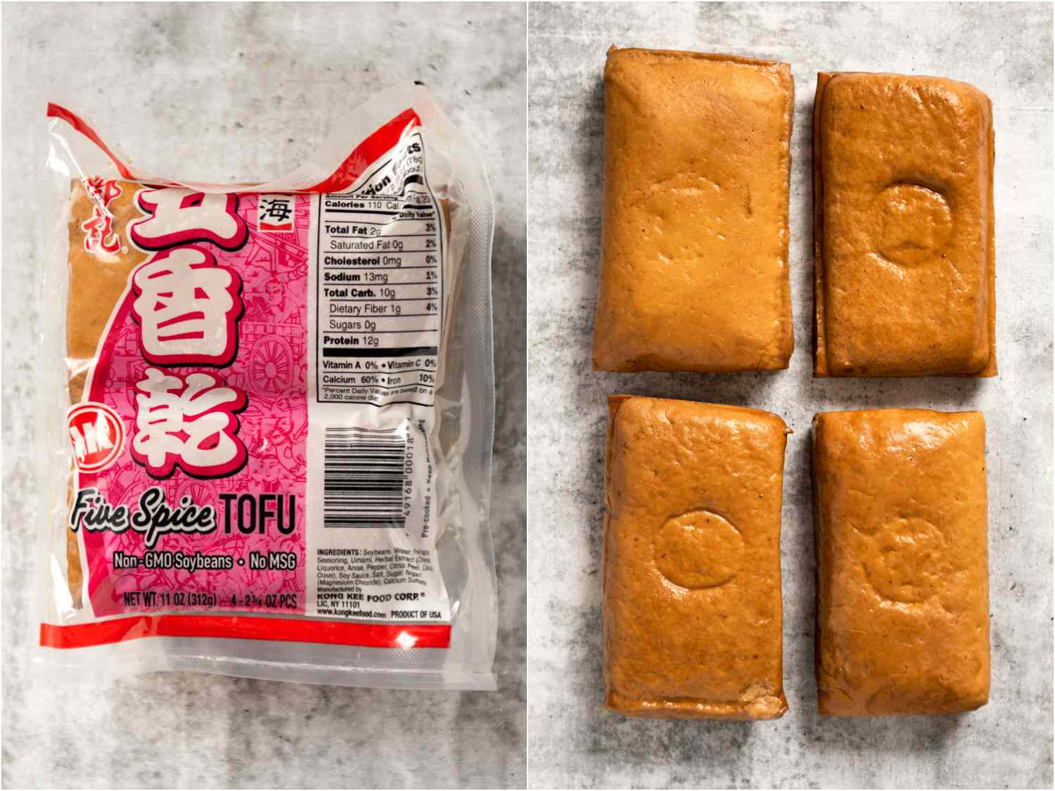 collage: five-spice tofu in packaging; unpackaged