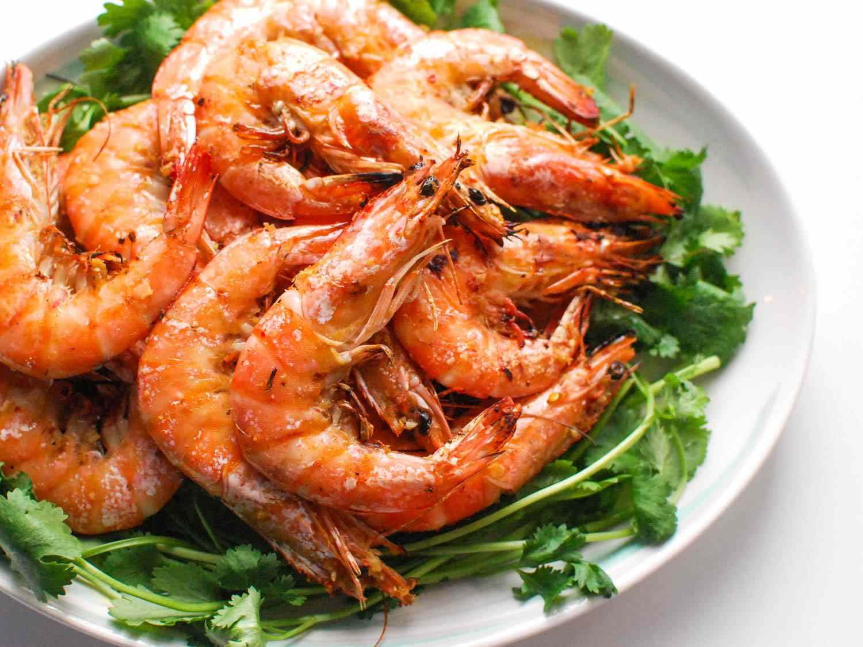 Plate of grilled lemongrass shrimp