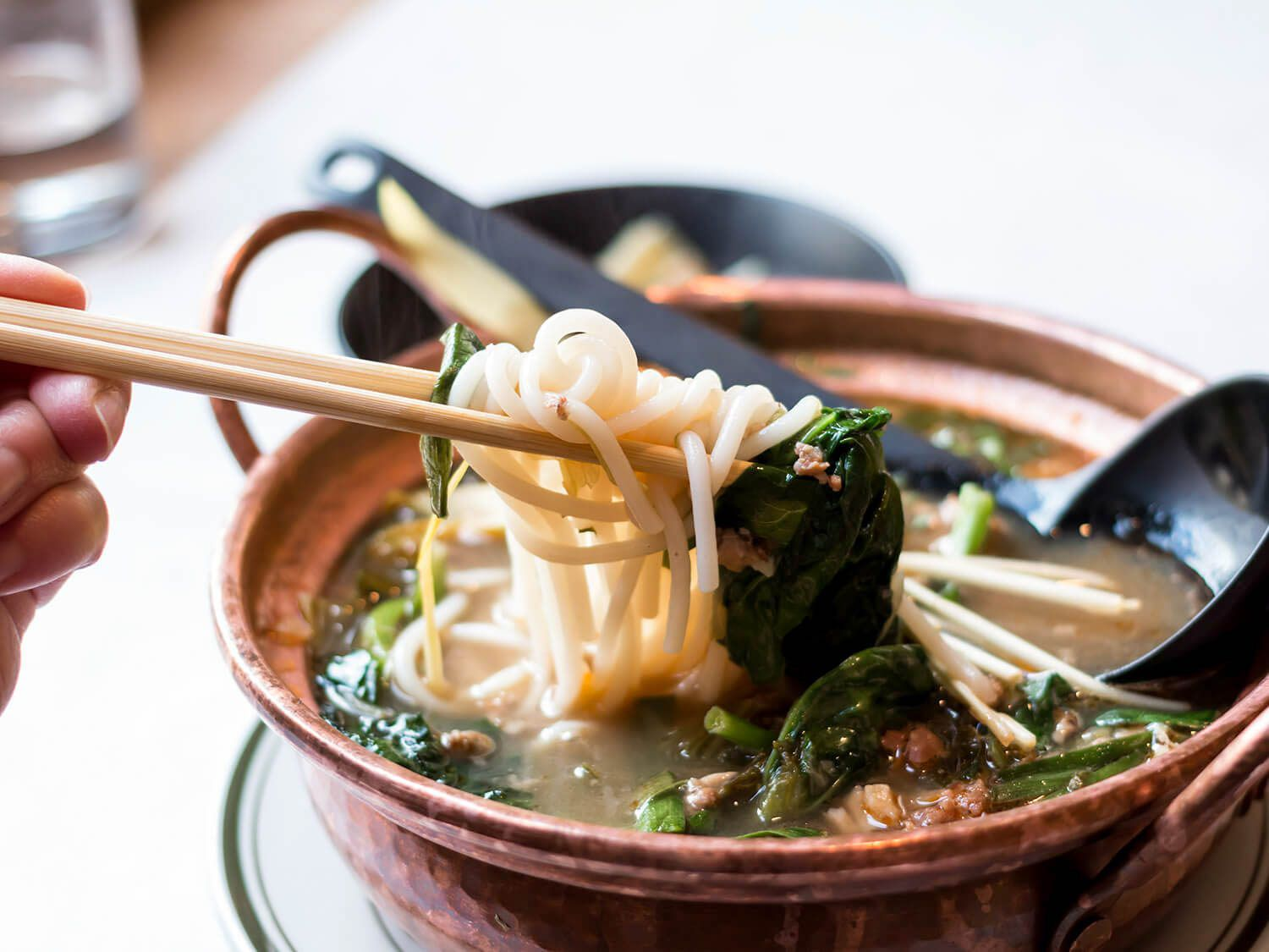 Chopsticks lifting a tangle of noodles, chicken confit, and vegetables out of a bowl