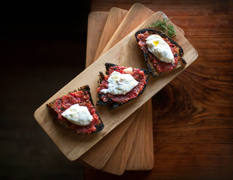 Burrata and tomato toast at Big Sur Bakery, CA