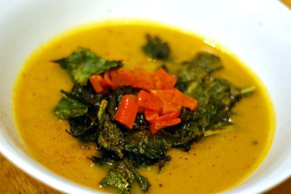 Roasted Butternut Squash, Kale, and Lemon Soup