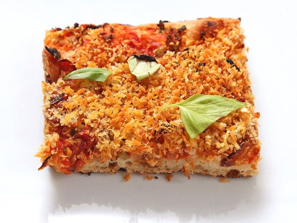 Easy Pan Pizza With Sun-dried Tomatoes, Caramelized Onions, Olives, and Breadcrumbs