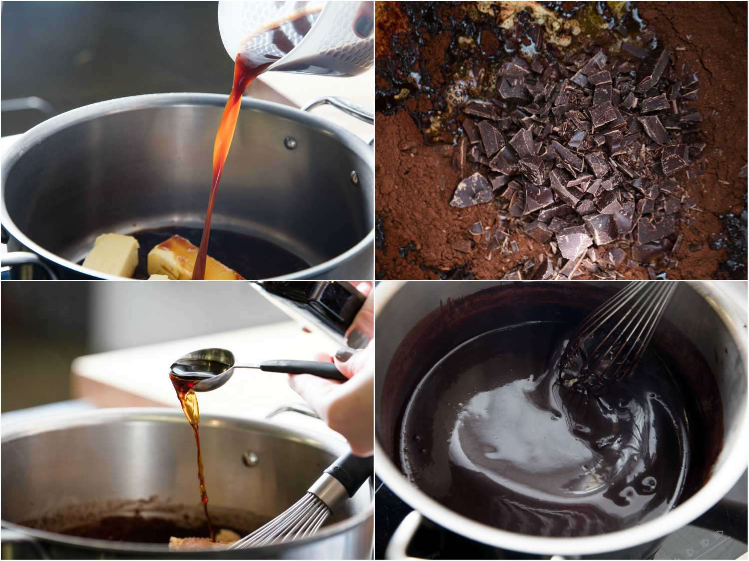 Photo collage showing melting butter, adding chocolate, and stirring in vanilla into Devil's food cake batter.
