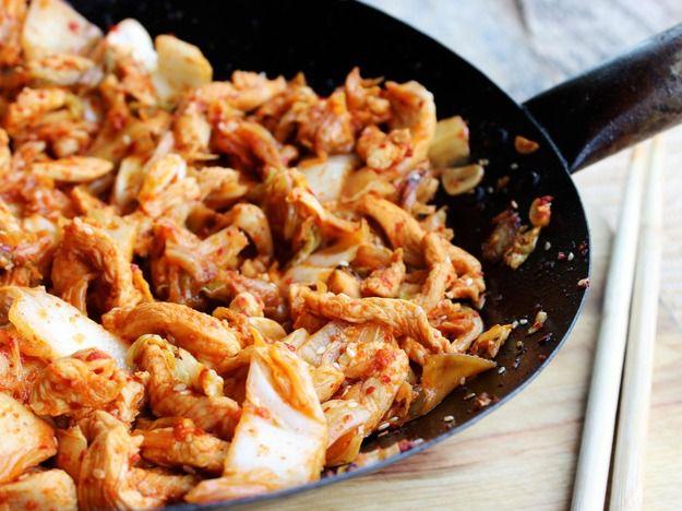 Kimchi Chicken and Cabbage Stir-Fry