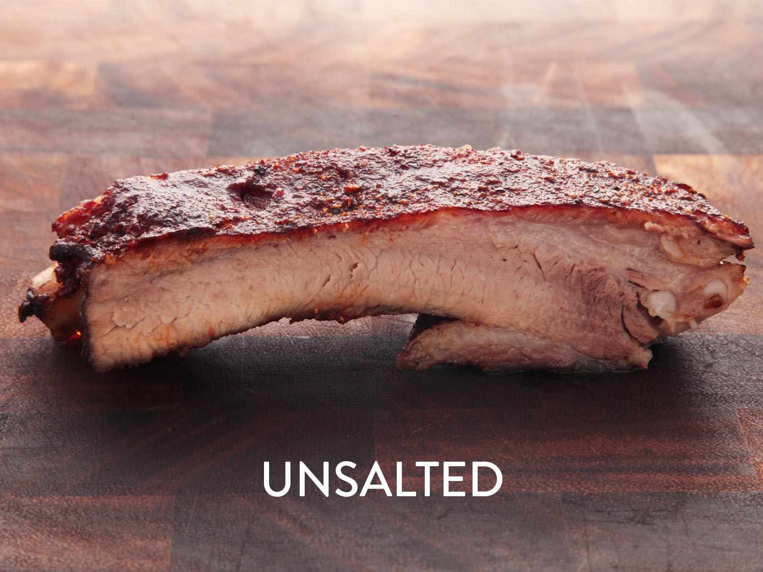 A photo of an unsalted pork rib cooked sous vide