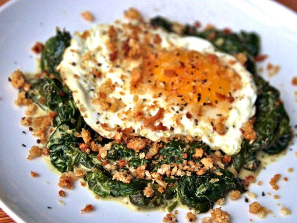Fried Eggs with Mustard-Creamed Spinach and Breadcrumbs