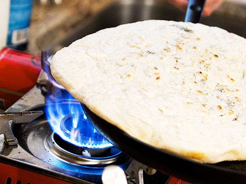 cooking pizza dough