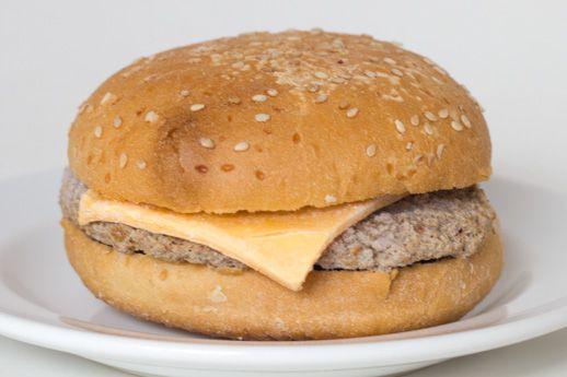 A frozen Kroger cheeseburger